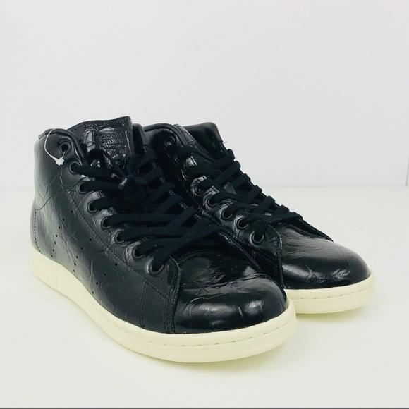 2ec6353d38a Adidas Stan Smith Mid Shoes Hi Top Black Sneakers